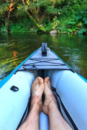 small river: kayak on a small river Stock Photo