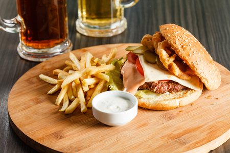 burger: burger with french fries Stock Photo