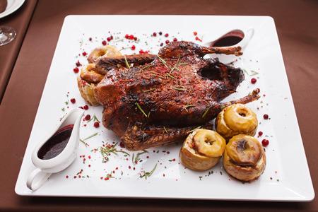 christmas goose: Christmas roast goose Stock Photo