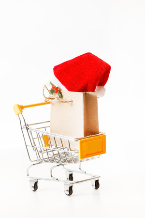 filled out: Christmas presents in shopping trolley