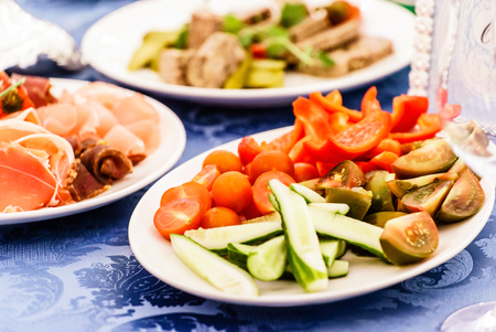 plates of food: catering food