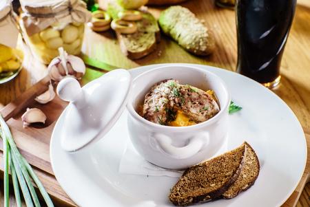 goulash: Delicious goulash casserole in a  pot