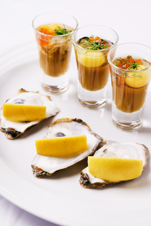 plate: oysters plate Stock Photo