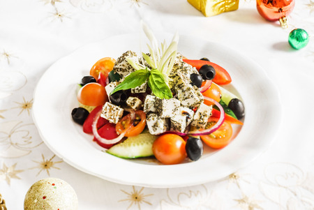 cooked pepper ball: greek salad