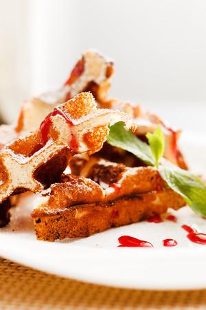 belgian: belgian waffle with whipped cream