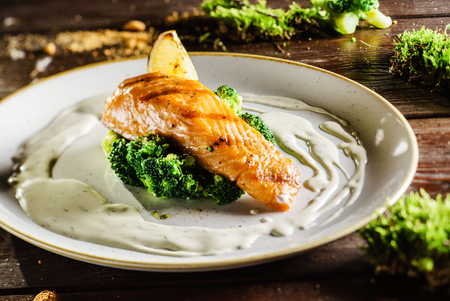 salmon steak: salmon steak with broccoli