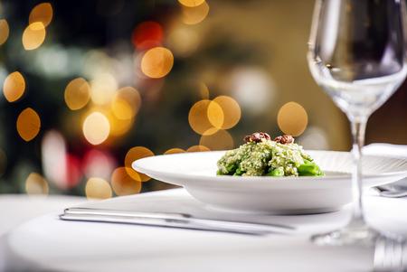 on the table: Christmas table