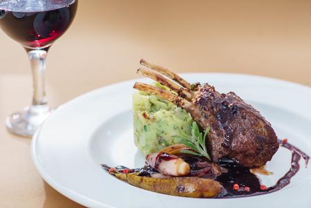 fine dining: venison carree Stock Photo