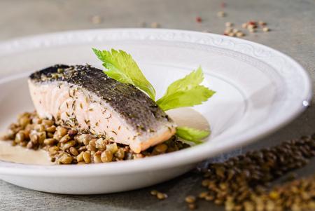 salmon fillet: salmon fillet with lentils Stock Photo