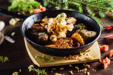 potato tree: potato pancakes with meat Stock Photo