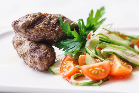 non vegetarian: kebab with salad