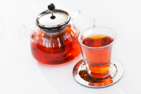 glass cup: Hot tea in pot and glass cup