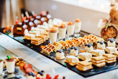 party pastries: different pastries Stock Photo