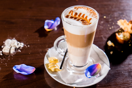 valentine day cup of coffee: cup of cappuccino Stock Photo