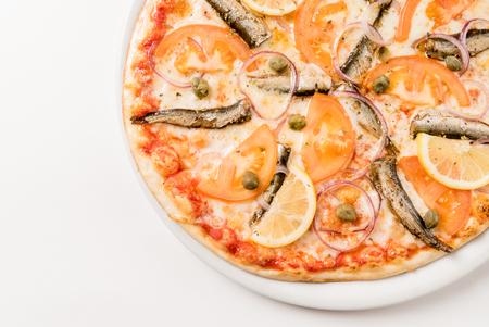 sprat: pizza with sprat Stock Photo