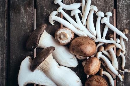 wooden basket: Variety of Mushrooms