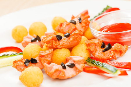 cooked pepper ball: fried potato balls with sausage