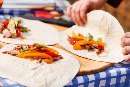 tortilla: tortilla with vegetables Stock Photo