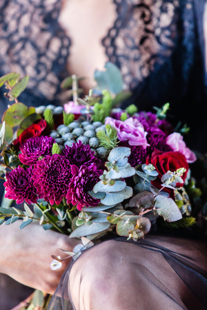 women with flowers Stock Photo