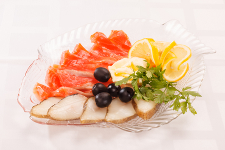 standing reception: fish appetizer Stock Photo