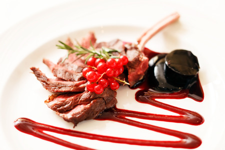 red currant: Grilled Rack of Lamb with red currant Stock Photo