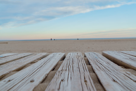 wooden or flooring on the beach Stock Photo