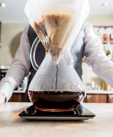 serve one person: barista making coffee