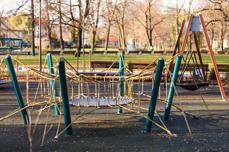 rope ladder: Playground in the park Stock Photo