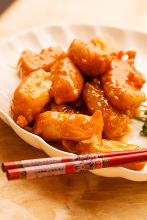 chine: Chinese food. Chicken with sweet and sour sauce