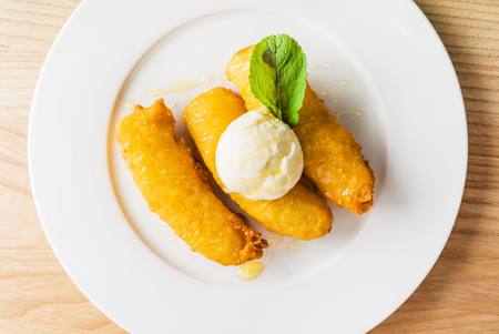 fried bananas with ice cream Stock Photo