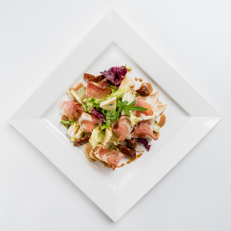 a portion: salad with ham Stock Photo