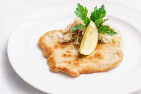 schnitzel: Schnitzel with cabbage