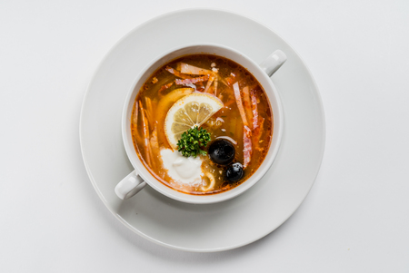 solyanka: Meat solyanka- traditional Russian soup