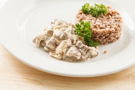 sauteed: Buckwheat porridge with meat