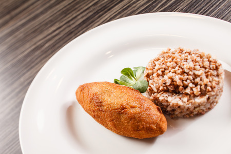 meat alternatives: buckwheat with cutlet Stock Photo