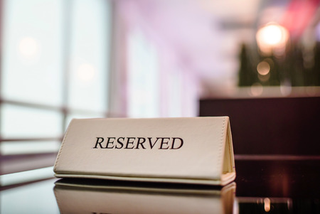 Restaurant reserved table