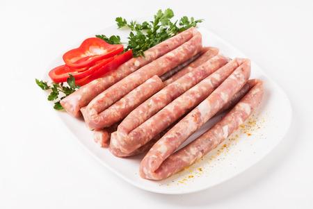 raw: raw sausages Stock Photo
