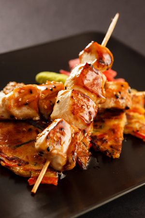 kebob: grilled chicken skewers Stock Photo