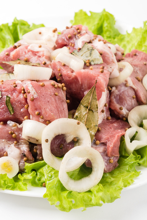muscle fiber: raw meat with onion