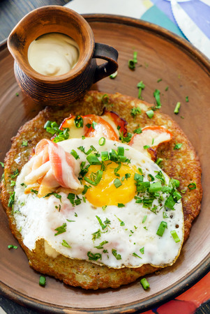potato fritters with eggs