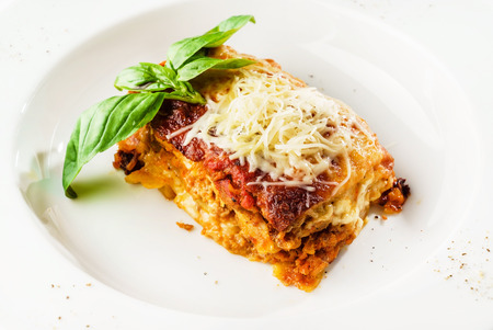 lasagna on the white plate