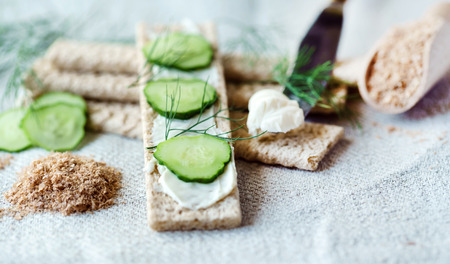 cream cheese: Stack of crispbreads with cream cheese Stock Photo