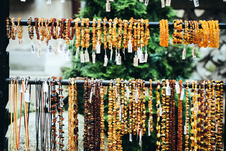 Amber beads for sale on an outdoor in Gdansk. Poland Sajtókép