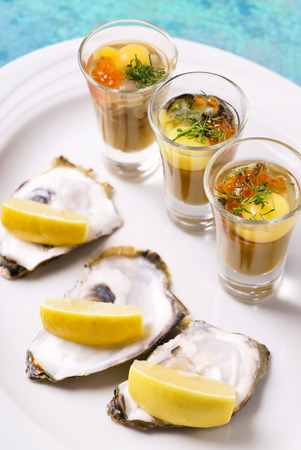 oysters plate Stock Photo