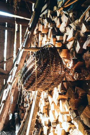 old barn: basket in old barn Stock Photo