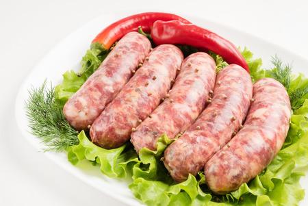longaniza: raw sausages Stock Photo
