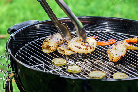 exotically: grilled calamari Stock Photo