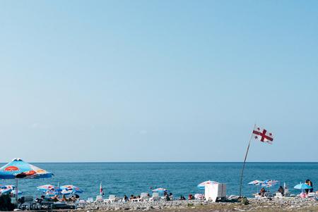 BATUMI, GEORGIA - September 5: People relax on the beach on September 5, 2016 in Batumi, Georgia. Stock Photo