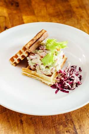 and savory: Savory waffles with salad Stock Photo