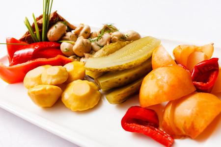 pickles: plate of pickles Foto de archivo